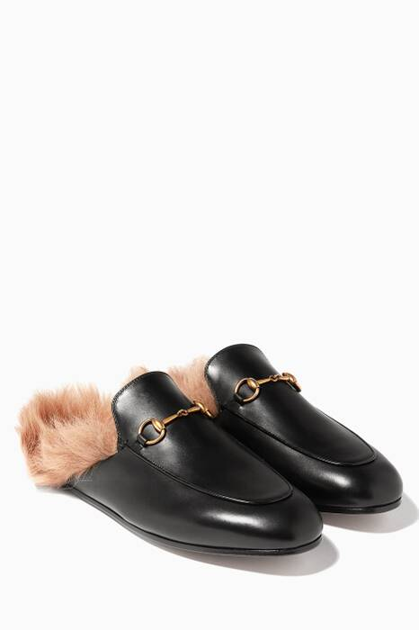 Black Leather & Lamb-Lined Princetown Loafers