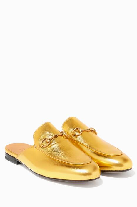 Metallic Gold Princetown Leather Loafers