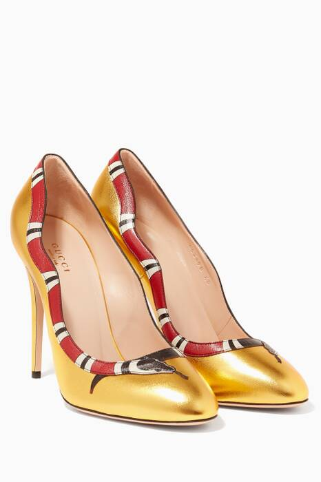 Gold Metallic Leather Snake Pumps