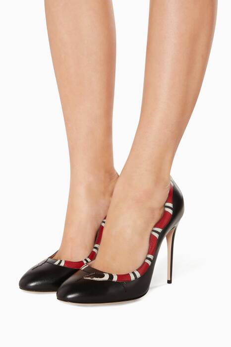 Black Leather Snake Pumps