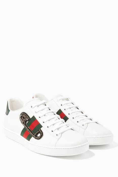 White Ace Embroidered Leather Sneakers