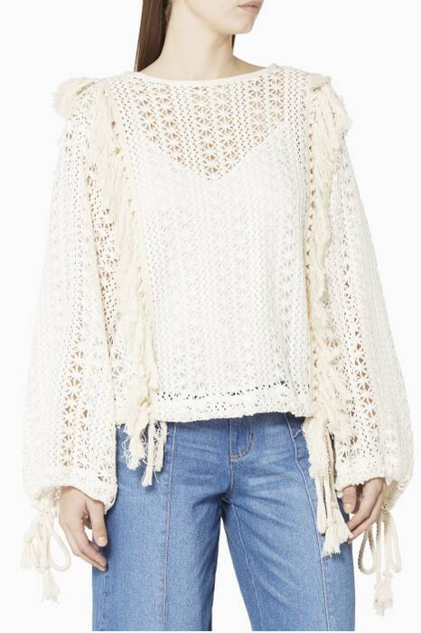 Off White Crochet-Lace Top