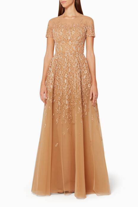 Shifting Sand Embroidered Lace Evening Gown