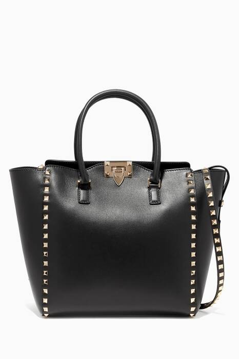 Black Medium Rockstud Tote Bag