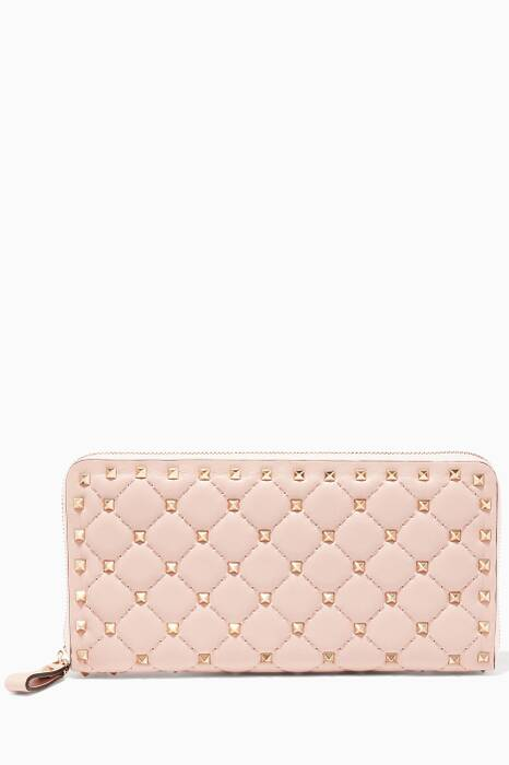 Light-Pink Large Rockstud Spike Leather Wallet