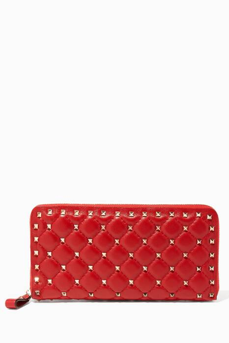 Red Large Rockstud Spike Leather Wallet
