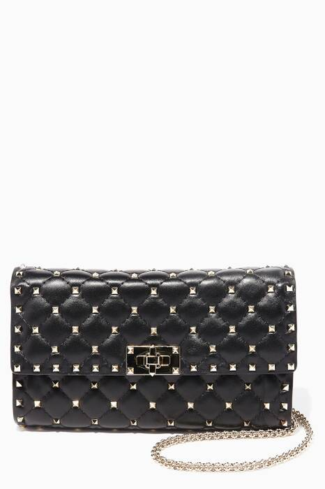 Black Rockstud Spike Small Leather Clutch