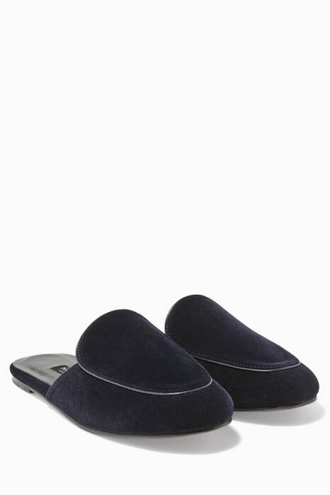 Midnight Blue Velvet Liza Mules
