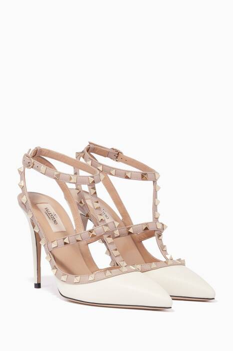 White Single-Strap Rockstud Pumps