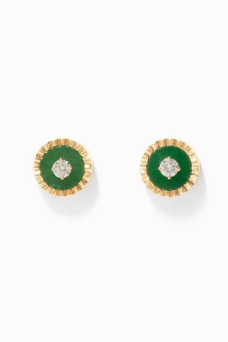 Yellow-Gold, Diamond And Green Coco Earrings