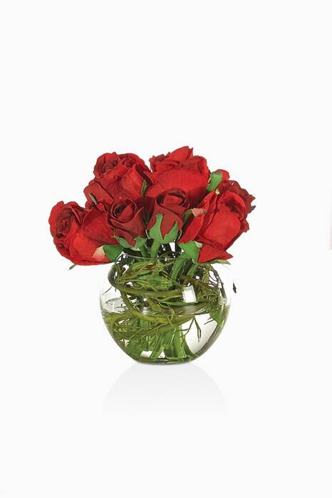 Red Rose Bouquet With Glass Bubble Vase