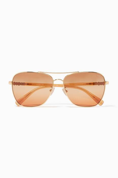 Gold-Amber Daisy-Rivet Pilot Sunglasses