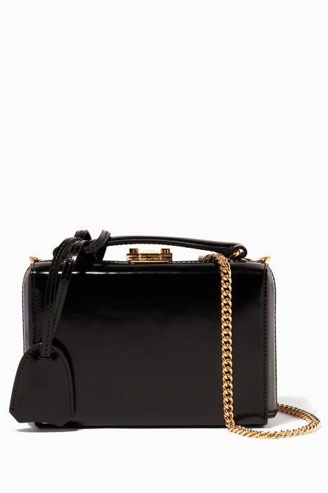 Black Patent Mini Grace Box Bag