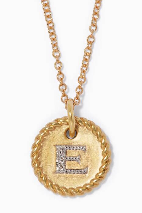 18kt Gold E Initial Charm Necklace with Diamonds