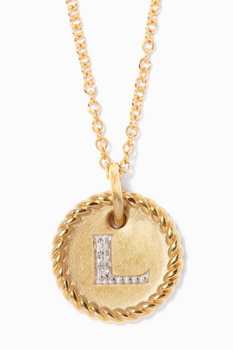 18kt Gold L Initial Charm Necklace with Diamonds