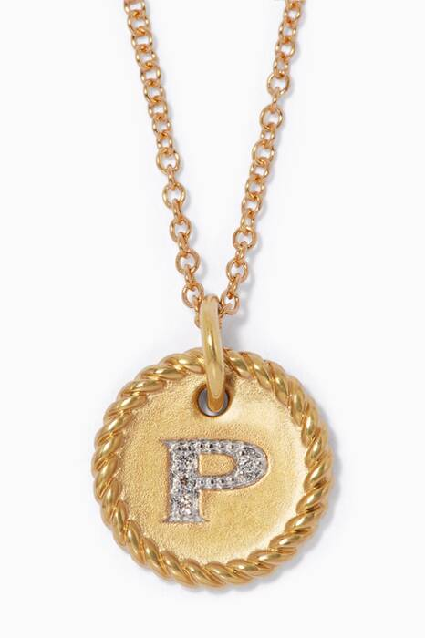 18kt Gold P Initial Charm Necklace with Diamonds
