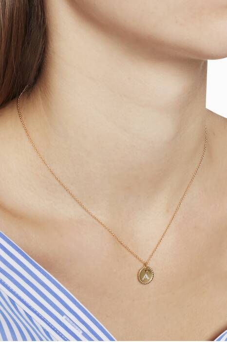 18kt Gold S Initial Charm Necklace with Diamonds