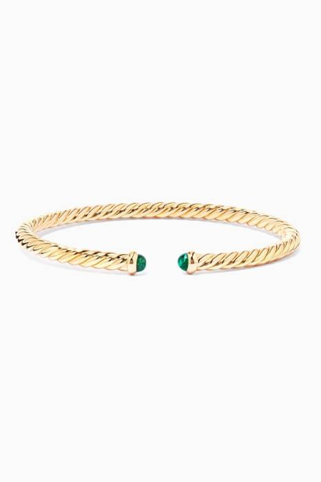 18kt Yellow-Gold Spiral Cable Emerald Bracelet