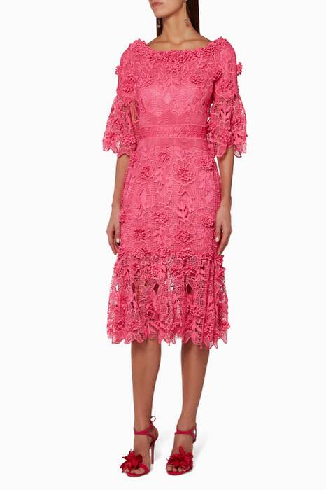Pink Guipure Lace Dress