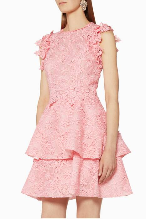 Pink Flower Embroidered Dress