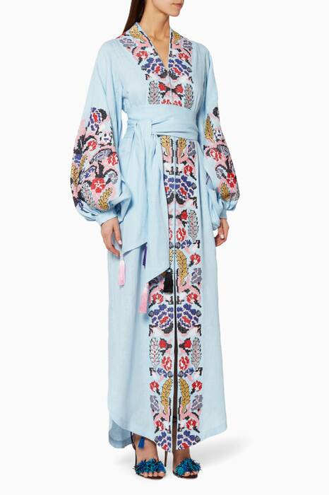 Light-Blue Embroidered Midi Kaftan