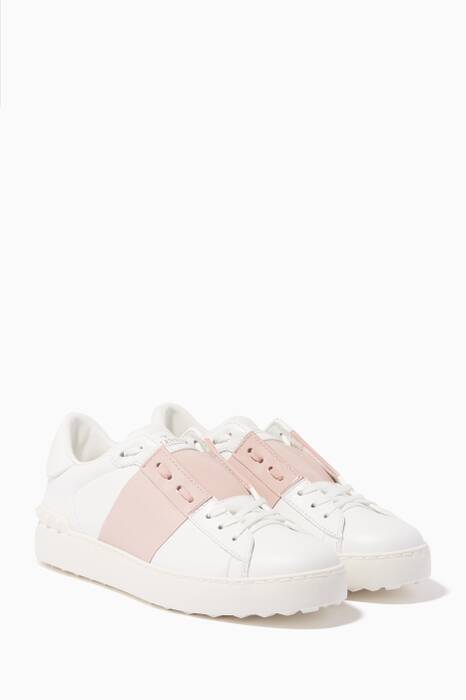 White & Pink Patent Striped Open Sneakers