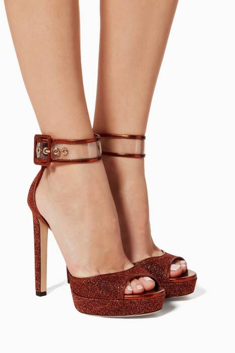 Pop-Orange Mayner Platform Sandals