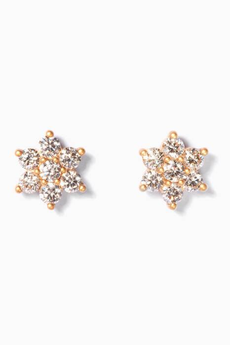 Gold And Diamond Flower Earrings