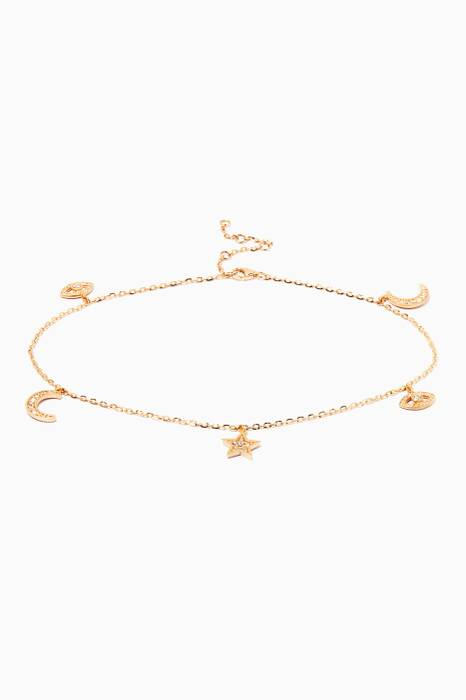 Gold And Diamond Charm Anklet