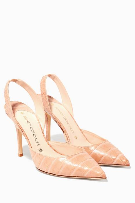 Light Beige Majita Crocodile Slingback Pumps