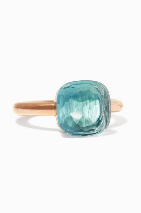 Rose-Gold Nudo Ring With Blue Topaz