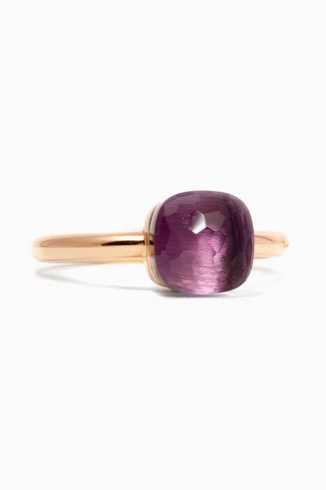 Gold Nudo Ring With Petite Amethyst Stone