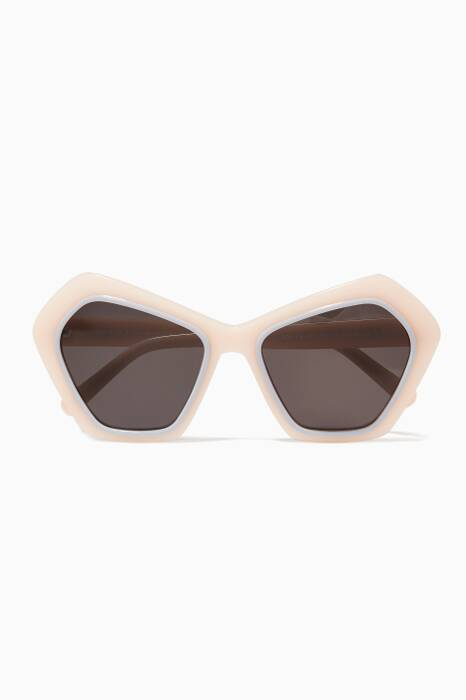 Pastel-Pink Dolly Oversized Angular-Frame Sunglasses