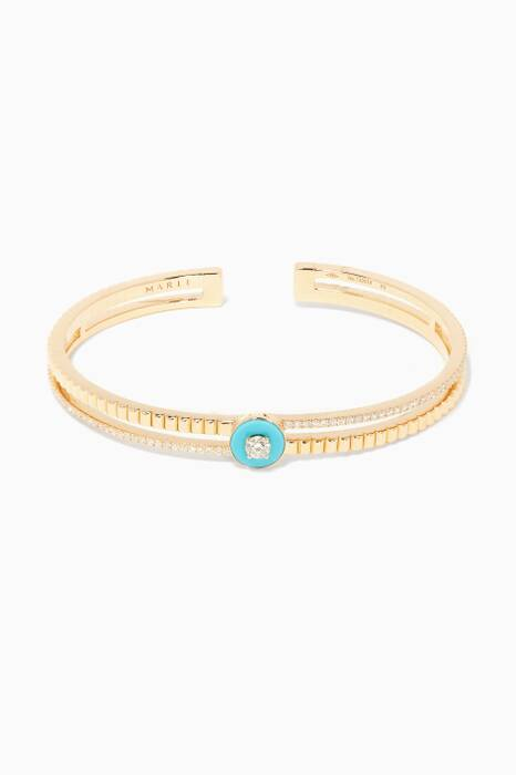Yellow-Gold, Diamond And Turqoise Coco Bangle