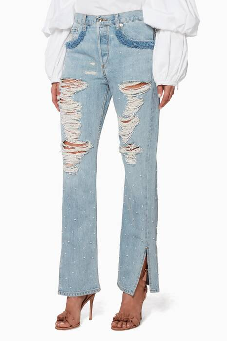 Blue Beaded Distressed Jeans