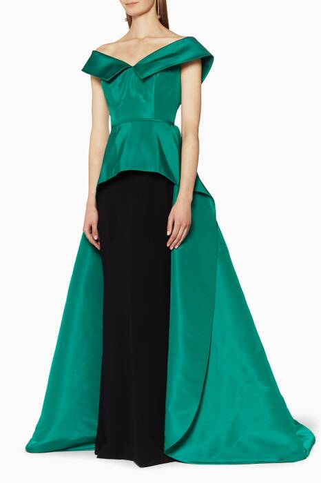 Emerald Off-The-Shoulder Peplum Gown