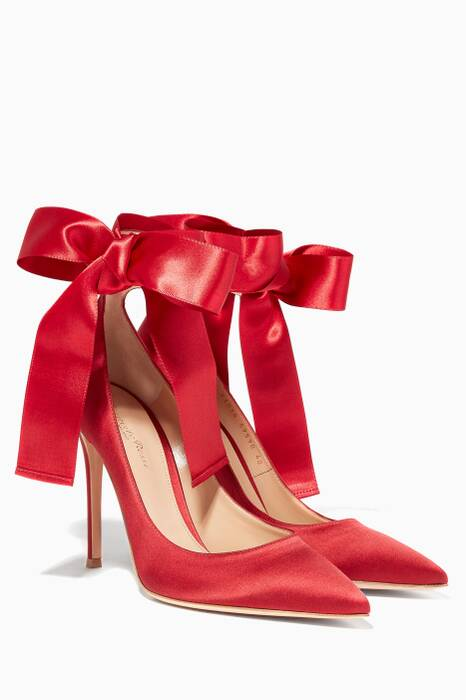 Red Satin Lace Up Pumps