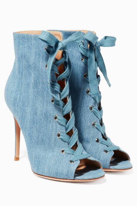 Blue Denim Lace-up Booties
