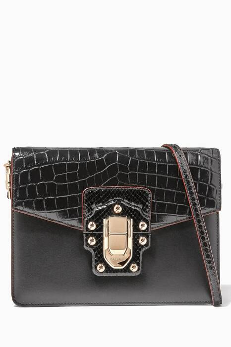 Black Crocodile Python Lucia Shoulder Bag