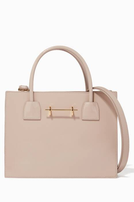 Beige Patent Mini Tote Bag