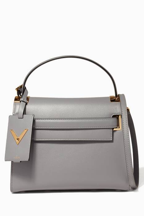 Small Light-Grey My Rockstud Leather Tote Bag