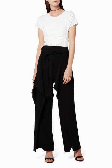 Black Belted Ruffle Pants
