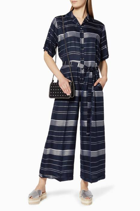Navy Veronique Striped Aio Jumpsuit