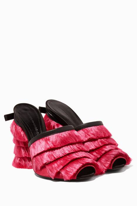 Pink Fringed Mules