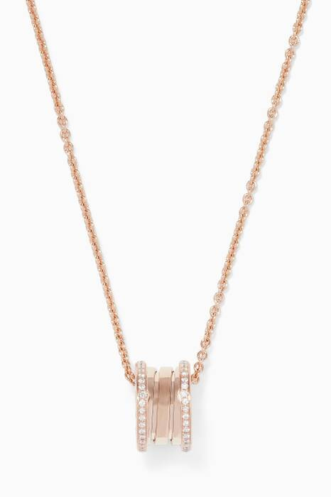 Rose-gold B.zero1 Pendant With Pavé Diamonds Necklace