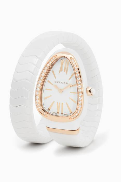 Rose-Gold, White Ceramic & Diamond Serpenti Spiga Watch