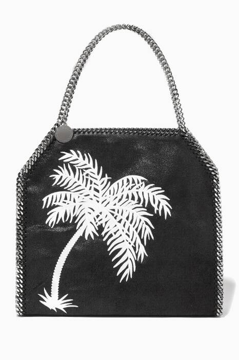 Black Falabella Palm Tree Embroidered Medium Shoulder Bag