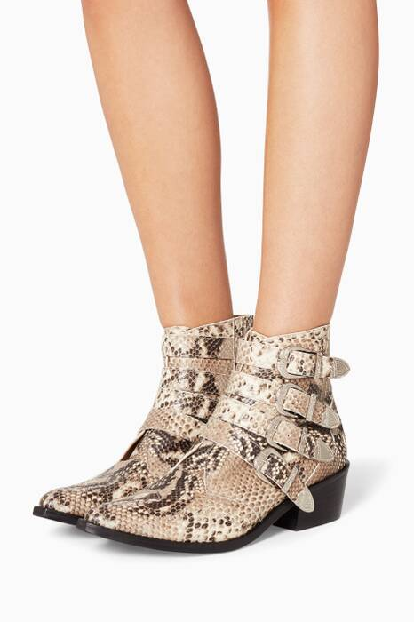 Python Embossed Leather Buckle Ankle Boots