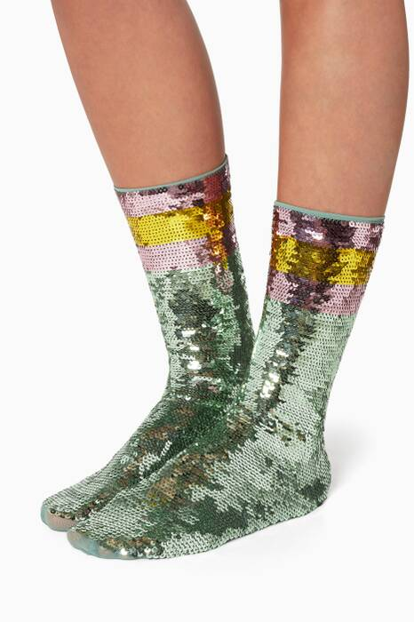 Aqua Sequin Socks