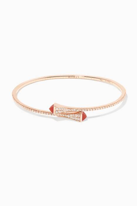 Rose-Gold, Diamond And Red Agate Cleo Bangle